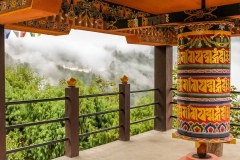 Buddhist prayer wheel in a temple in Bumthang, Bhutan