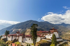 View of Trongsa Dzong in Bumthang, Bhutan, Asia.