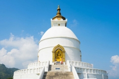 World Peace Pagoda in Pokhara, Nepal. Located on the top of mountain above Phewa lake.  Designed to help unite people their search for world peace.